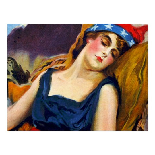 Liberty Sleeps America USA Vintage Retro Kitsch Postcard