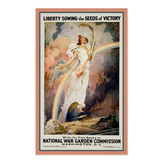 LIBERTY Sowing Seeds of Victory Patriotic WAR Poster