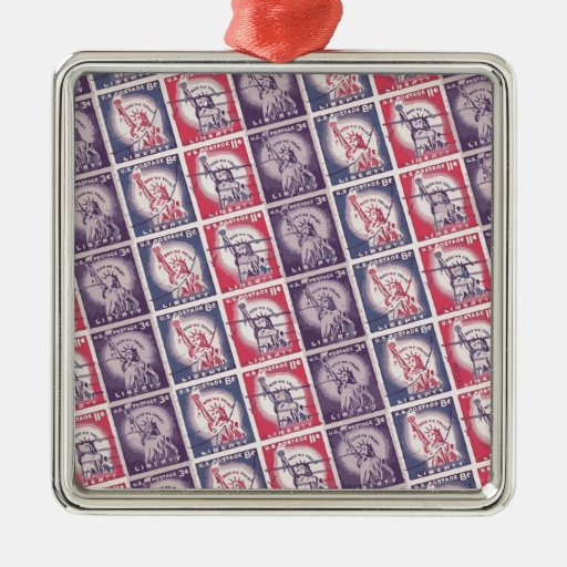 Liberty Stamps Collage Ornaments