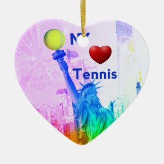 Liberty Statue loves tennis Ceramic Ornament