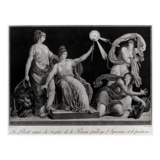 Liberty, striking down Ignorance and Fantacism Postcard
