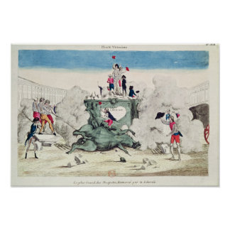 Liberty toppling the statue of the Greatest Poster