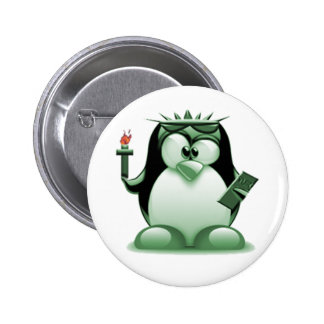 Liberty Tux (Linux Tux) 2 Inch Round Button