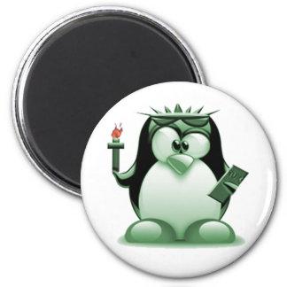 Liberty Tux (Linux Tux) 2 Inch Round Magnet