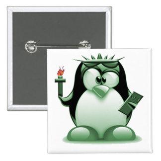Liberty Tux (Linux Tux) 2 Inch Square Button