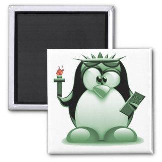 Liberty Tux (Linux Tux) 2 Inch Square Magnet