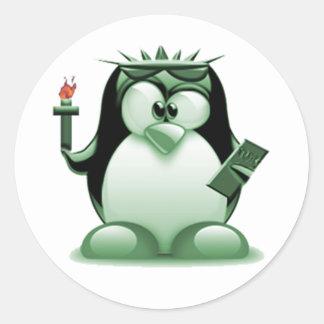 Liberty Tux (Linux Tux) Classic Round Sticker