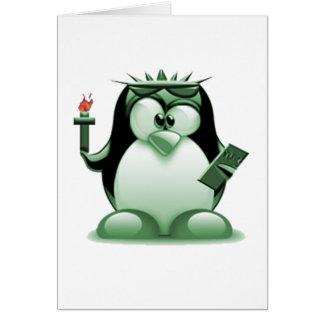 Liberty Tux (Linux Tux) Greeting Card