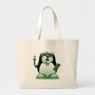 Liberty Tux (Linux Tux) Jumbo Tote Bag