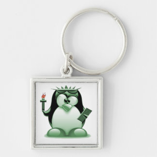 Liberty Tux (Linux Tux) Silver-Colored Square Keychain