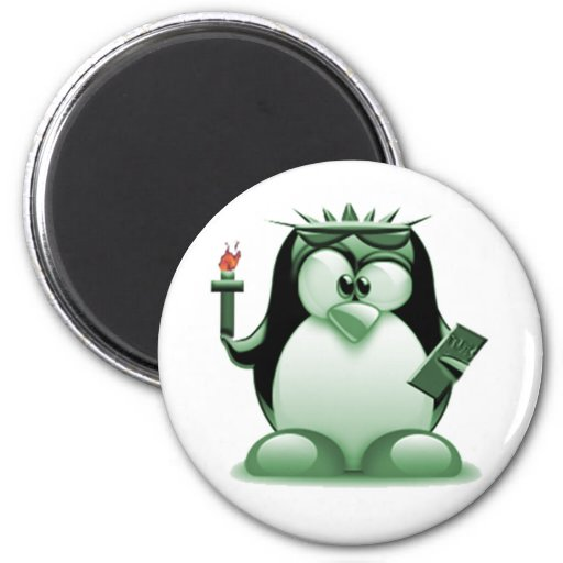 Liberty Tux (Linux Tux) Refrigerator Magnet