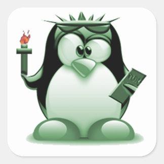 Liberty Tux (Linux Tux) Square Sticker