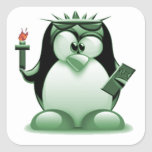 Liberty Tux (Linux Tux) Square Stickers