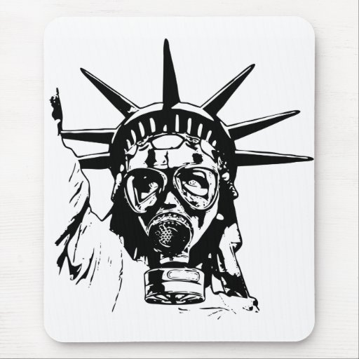 LIBERTY with Gas Mask Mouse Pad