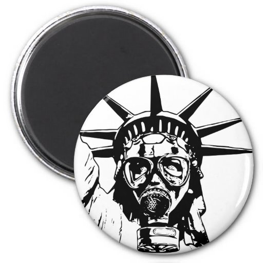 LIBERTY with Gas Mask Refrigerator Magnets