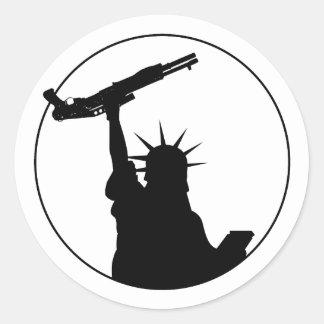 Liberty with Shotgun Classic Round Sticker