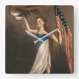 Liberty Woman Eagle American Flag USA Freedom Square Wall Clock