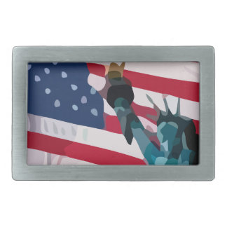 Libery and the united States flag Rectangular Belt Buckle
