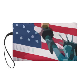 Libery and the united States flag Wristlet