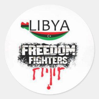 Libia: combatientes de la libertad pegatina redonda