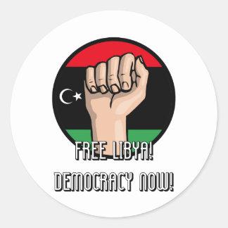 LIBIA LIBRE PEGATINA REDONDA