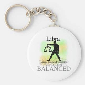 Libra About You Basic Round Button Keychain
