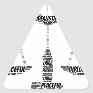 Libra Astrology Zodiac Sign Word Cloud Triangle Sticker