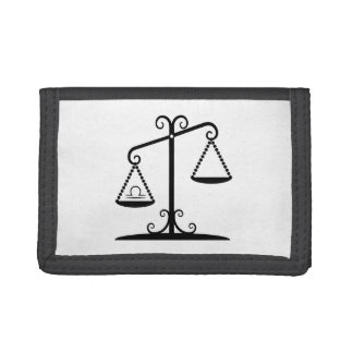 libra balance scales zodiac astrology horoscope tri-fold wallet