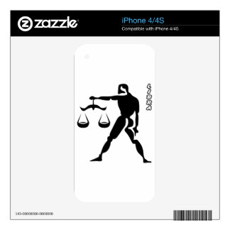 LIBRA BLACK AND WHITE HOROSCOPES PRODUCTS DECALS FOR iPhone 4