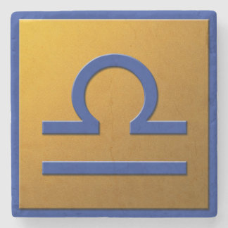 Libra - Blue and Gold Stone Beverage Coaster