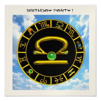 LIBRA circle,bright yellow,Green,Gold Metallic Custom Announcement