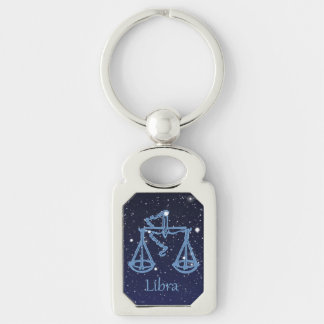 Libra Constellation and Zodiac Sign with Stars Keychain