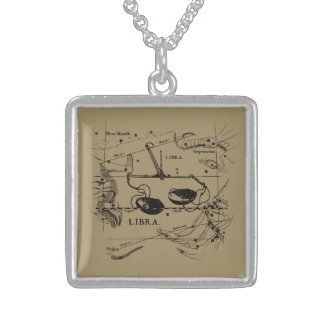 Libra Constellation Map Hevelius 1690 Decor Sterling Silver Necklace