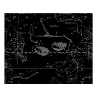 Libra Constellation Map Hevelius 1690 Sept Oct Poster
