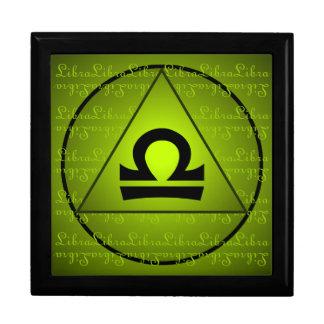 Libra Curly Script Triangle Circle Green Trinket Box