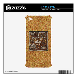 LIBRA DE LA MUESTRA DEL ZODIACO iPhone 4 SKIN