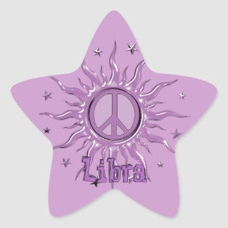 Libra de Sun de la paz Pegatina En Forma De Estrella