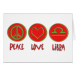 Libra del amor de la paz tarjeton