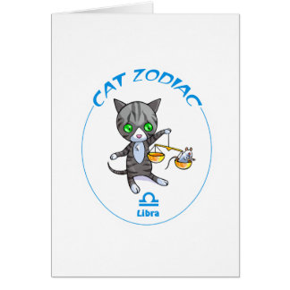 Libra del zodiaco del gato tarjeta pequeña