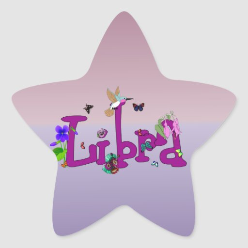 Libra Flowers Star Sticker