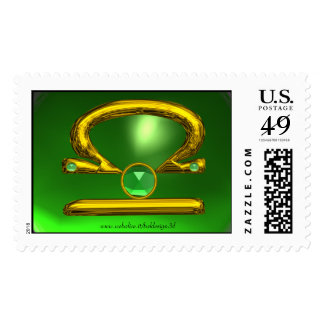 LIBRA , Green Emerald and Gold Postage