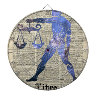 Libra Horoscope Sign Over Old Dictionary Page Dartboard With Darts