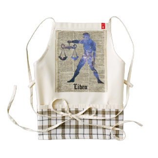 Libra Horoscope Sign Over Old Dictionary Page Zazzle HEART Apron