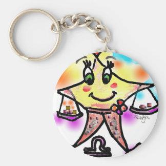libra basic round button keychain