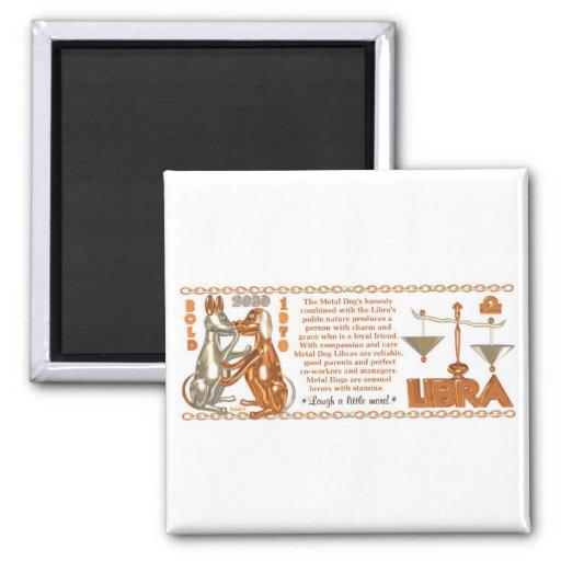 Libra llevado perro del metal del zodiaco del chin imán cuadrado