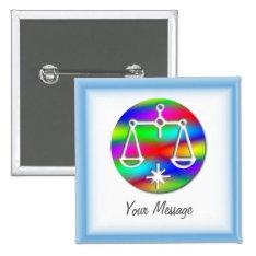 Libra Rainbow Scales Zodiac Badge Name Tag Pinback Button at Zazzle