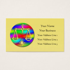 Libra Rainbow Scales Zodiac Star Sign Business Card at Zazzle