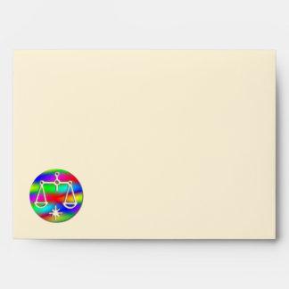 Libra Rainbow Scales Zodiac Star Sign Letter Envelope