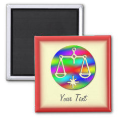 Libra Rainbow Scales Zodiac Star Sign Magnet at Zazzle