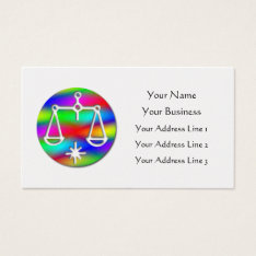 Libra Rainbow Scales Zodiac Star Sign on Gold Business Card at Zazzle